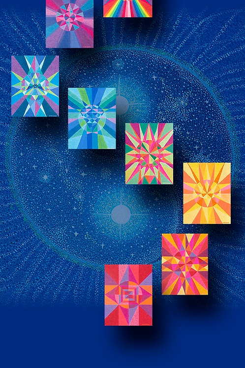 Blue Meditation Chakra Banner - Reproduction Giclee Art Print on Canvas