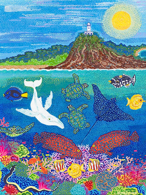 Cape Byron Bay in Ocean Play - Reproduction Giclee Art Print