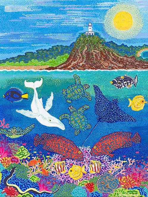 Cape Byron Bay in Ocean Play - Oil & Acrylic