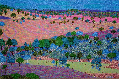 Blue Gum Valley Landscape - Reproduction Giclee Art Print On Canvas