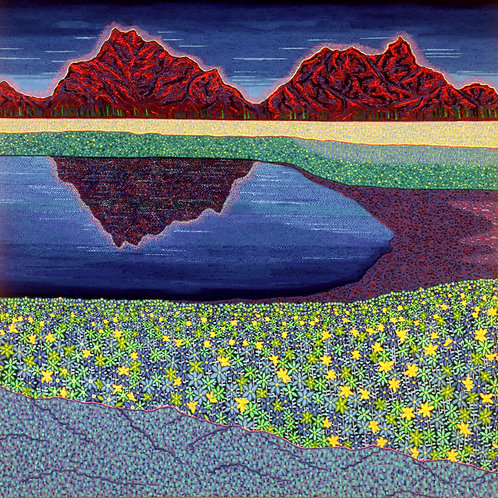 Alpine Reflection - Reproduction Giclee Art Print On Canvas