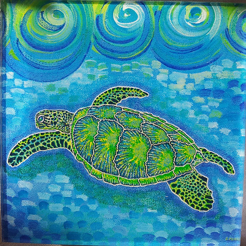 Coffee Mat/Drink Coaster - Lucky Money Sea Turtle (Acrylic)