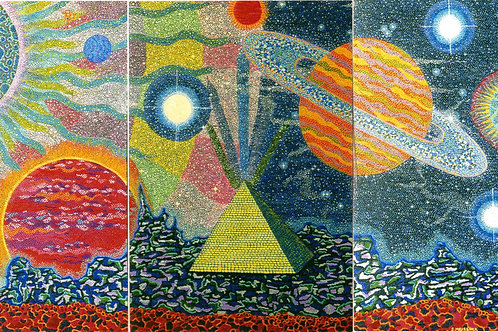 Alternative Worlds (Tryptich I, II & III) - Oil and Opal Shimmer Artworks