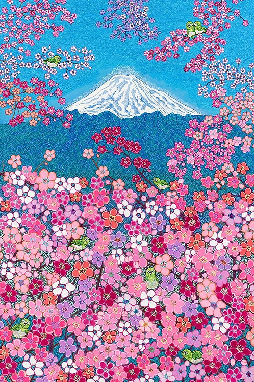 Fujiyama Blossom Bliss - Oil, Acrylic and Shimmer Artwork