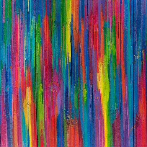 Rainbow Chakra Dream Wave - Art Print On Canvas