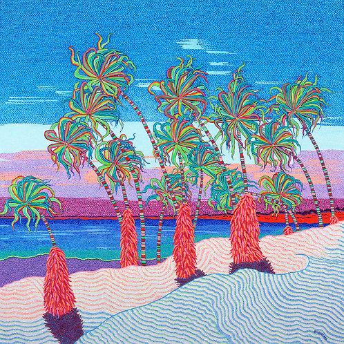 Windsong Palms - Reproduction Giclee Art Print On Canvas