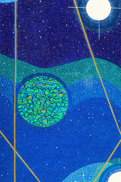 Cosmic Planets Triptych Planet III-Reproduction Art Print On Canvas-No Crystals