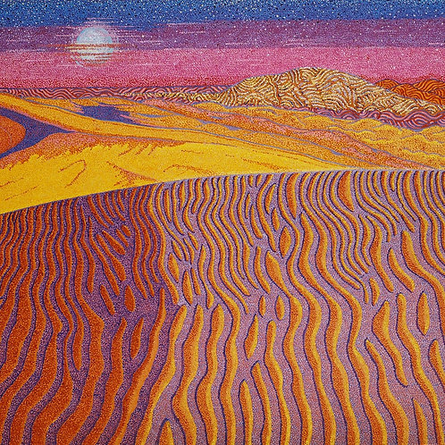 Golden Exotic Sands - Reproduction Giclee Art Print On Canvas