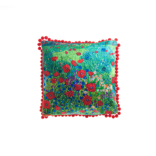 WS Cushion A Field of Red Poppies - With Swarovski® 100% Branded Crystals