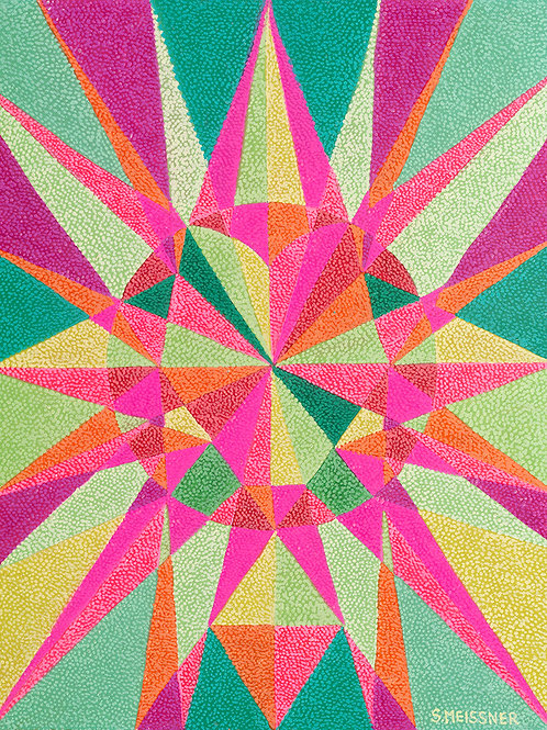 Heart Chakra Geometry Map - Reproduction Giclee Art Print On Canvas