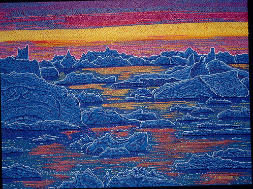 Indigo Tequila Sunrise Ice Waters - Reproduction Giclee Art Print On Canvas