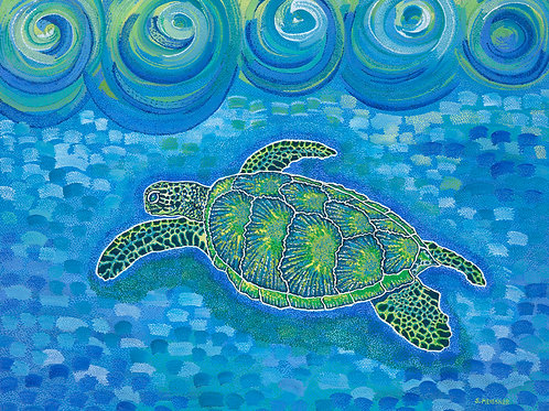 Lucky Money Sea Turtle - Reproduction Giclee Art Print On Canvas