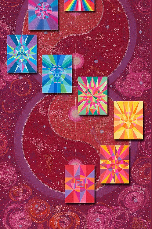 Red Meditation Chakra Banner - Reproduction Giclee Art Print on Canvas