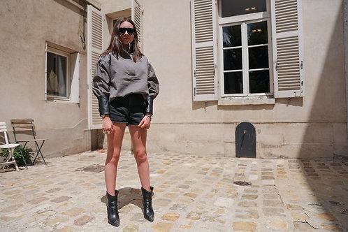 Blouse Vareuse - poignet manchette cuir noir
