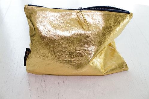 pochette cuir doré