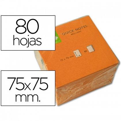 BLOCO NOTAS ADESIVAS Q-CONNECT LARANJA FLUORESC.75X75MM