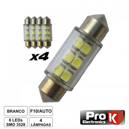 LÂMPADA P/AUTOMÓVEL 12V 6 LEDS BRANCO 4X PROK LLA06A/4