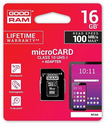 CARTÃO DE MEMÓRIA 16GB UHS-I MICROSD + ADAPTADOR SD (CLASS 10) - GOODRAM