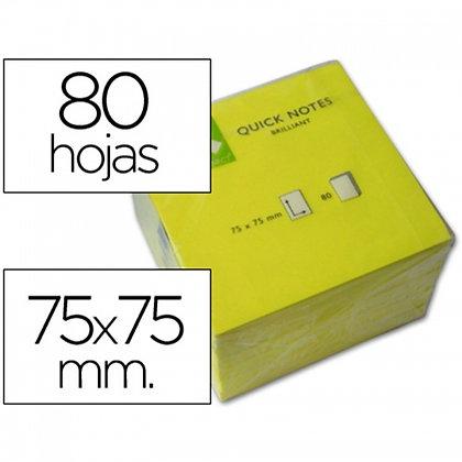 BLOCO NOTAS ADESIVAS Q-CONNECT AMARELO FLUORESC.75X75MM