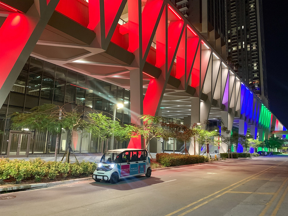 Freebee Shuttle outside Miami Central Train Station Transit Oriented Development Downtown Miami