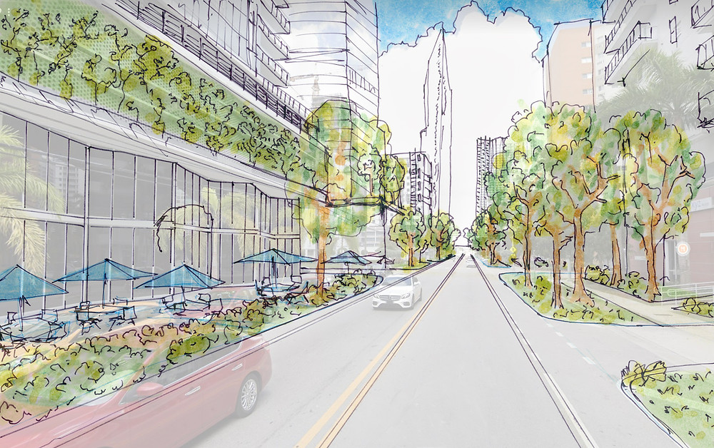 Brickell Miami Street Redesign Urban Planning Mobility Pedestrian Bike Lanes Green Street Heat Island Effect Reduce Greenway Network
