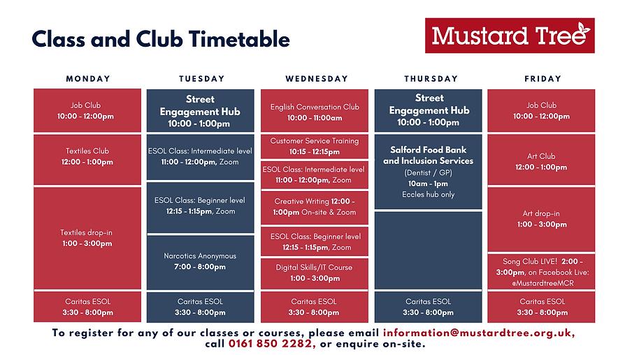 Mustard Tree Class & Club Timetable V4.1