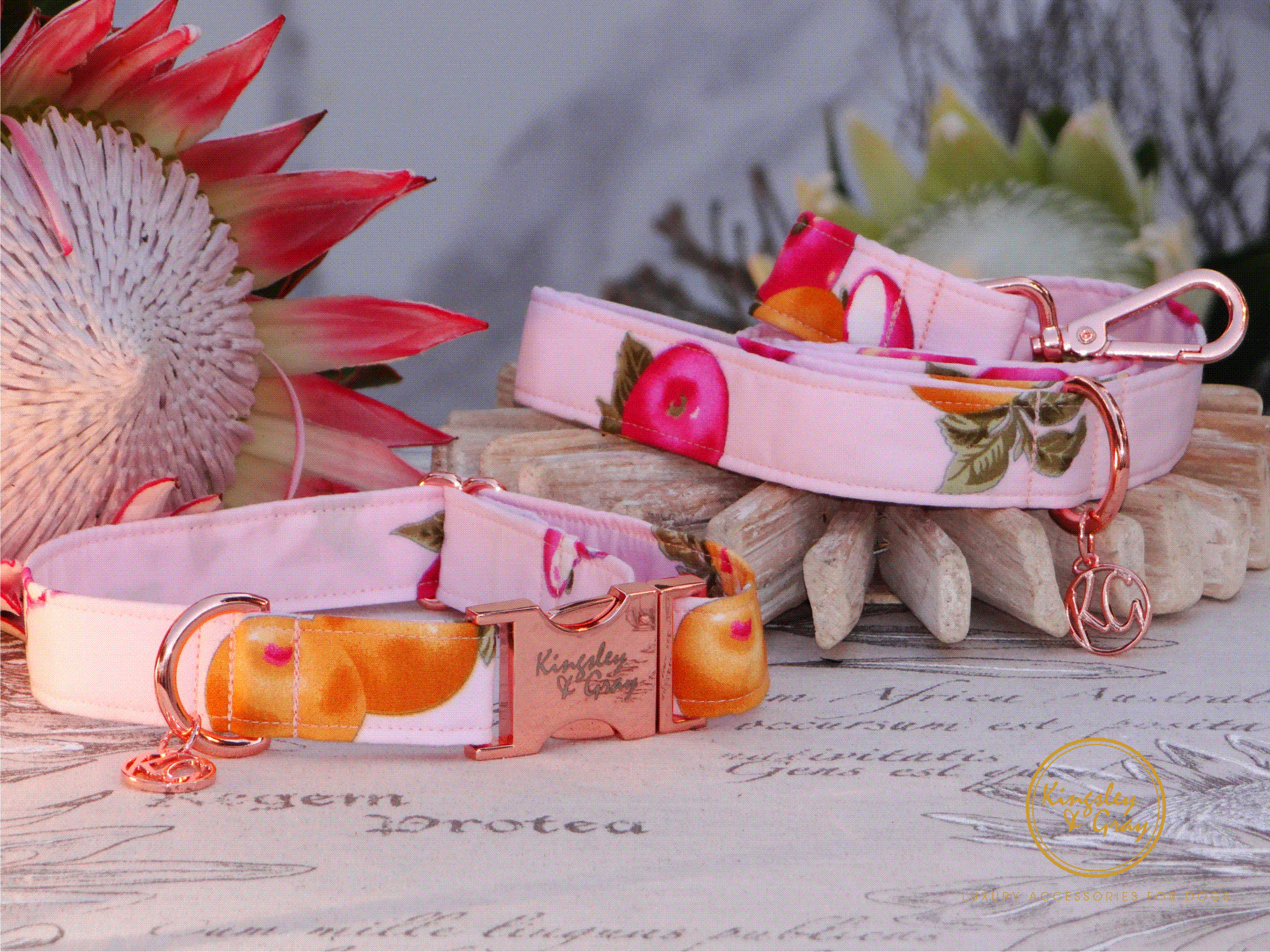 PINK ORCHARD COLLAR & LEAD