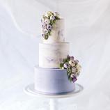 Purple marble cascade cake