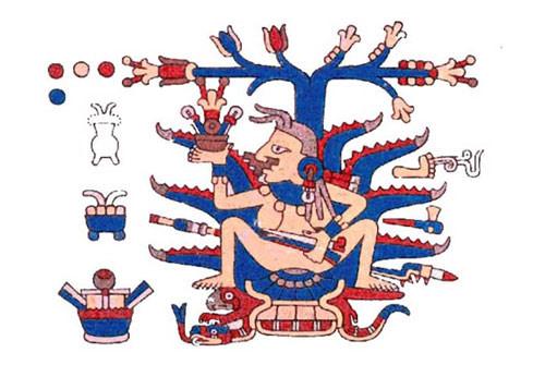 Mayahuel, die Fruchtbarkeitsgöttin. Schinus zur Verstärkung des aus Agaven gewonnen Pulque.