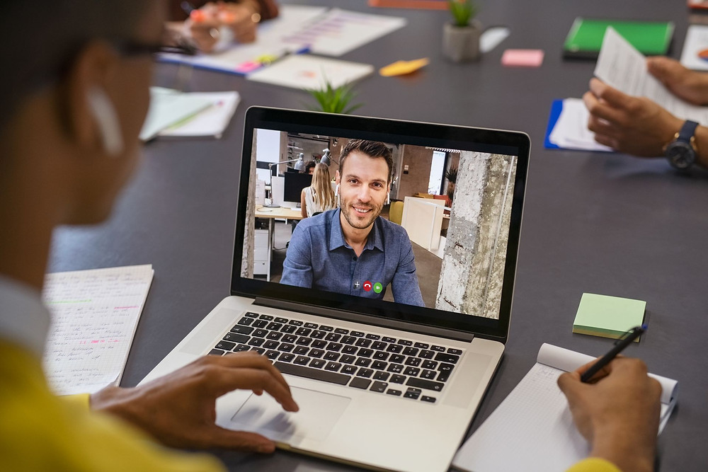 Remote workers on a video call