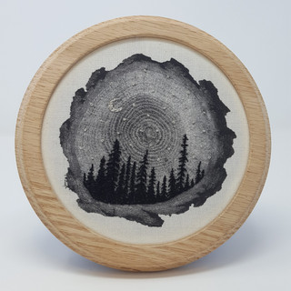 Treescape with Crescent Moon and Stars