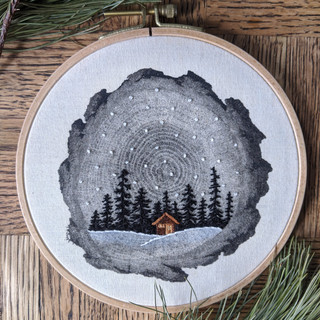 Treescape with Winter Cabin