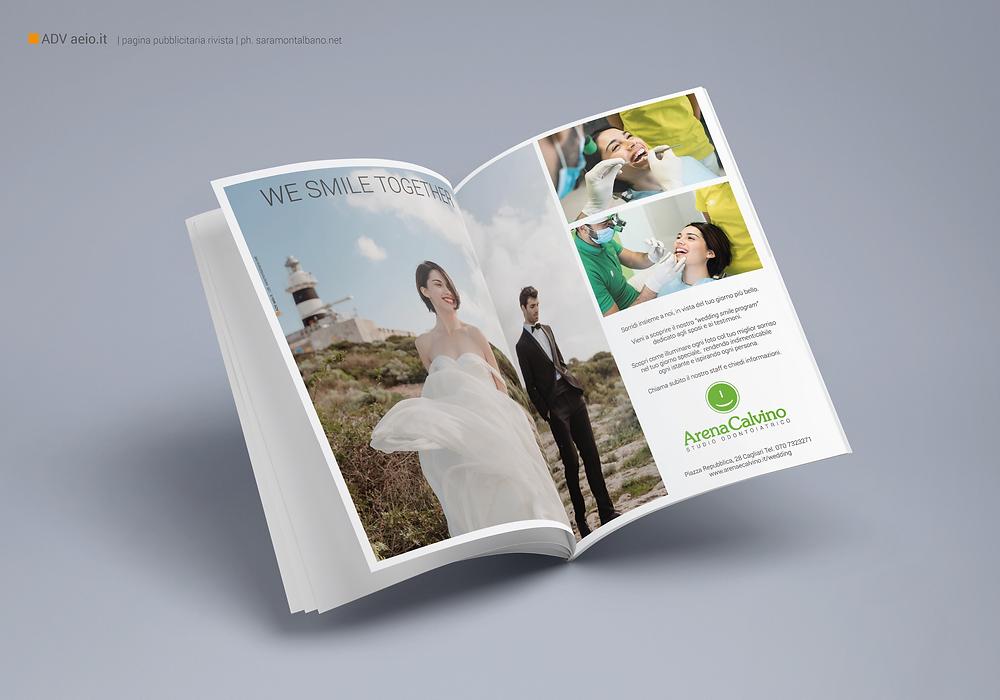 Doppia pagina pubblicitaria per i servizi wedding Arena e Calvino   AEIO