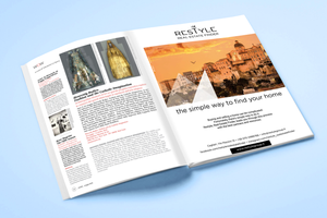 Pagina pubblicitaria su Ulisse | AEIO per Restyle Real Estate Finder