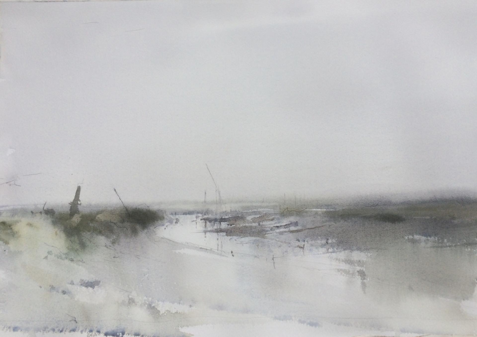 Morston quay in the mist
