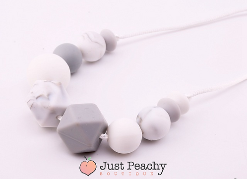 Marble & Grey Hexagon Teething Necklace