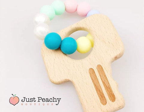 Candy Silicone & Wood Key Teether
