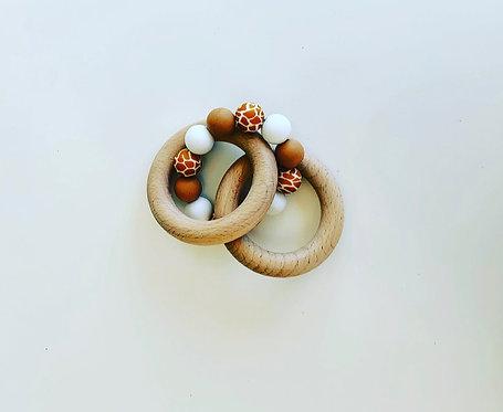 Animal print teething ring