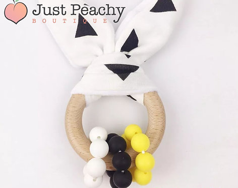 Black & Yellow Silicone & Wood Bunny Ears Teether