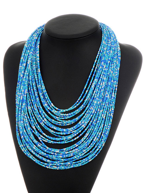 MULTI-TIERED BEADED NECKLACE - BLUE