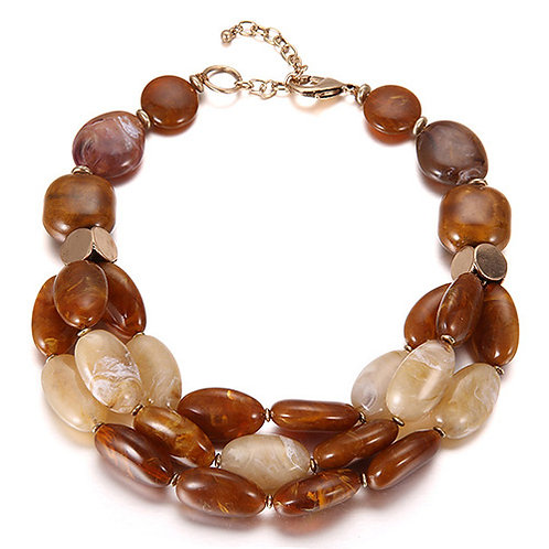 PEBBLE NECKLACE - BROWN