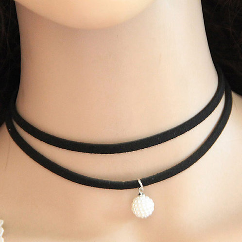 BLACK CHOKER NECKLACE - PEARL