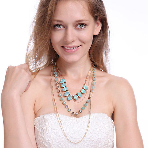 CLEAR BLUE THREE LAYERED NECKLACE