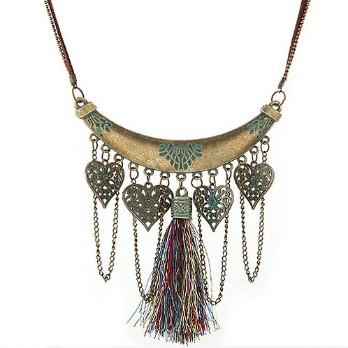 RED INDIAN TASSEL NECKLACE