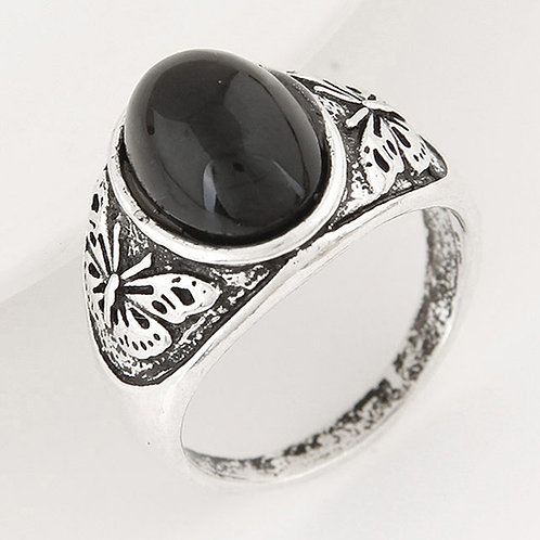 OXIDIZED SILVER BLACK STONE RING