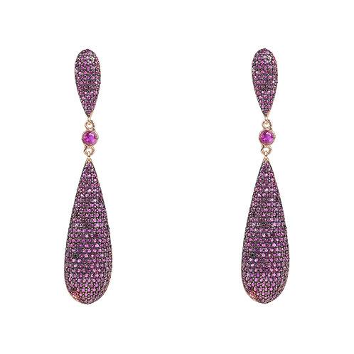 Coco Long Drop Earrings Ruby Red CZ