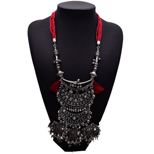 RED BEADED ETHNIC NECKLACE