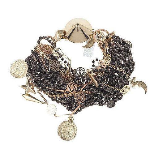 Italian Bracelet With Gunmetal Plated Brass and Rhinestones