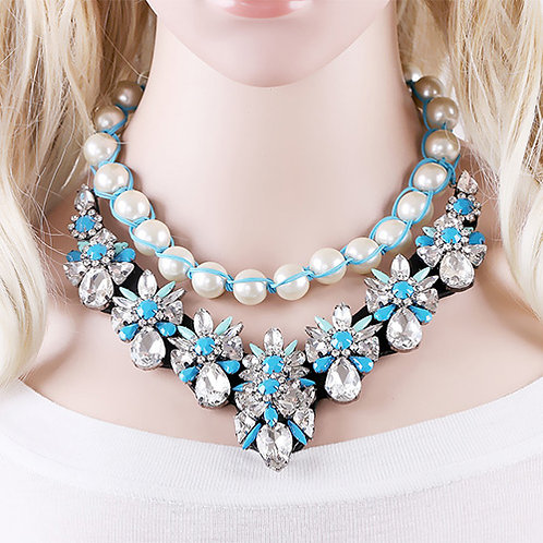 PEARLY BLUE NECKLACE - RUSSIA