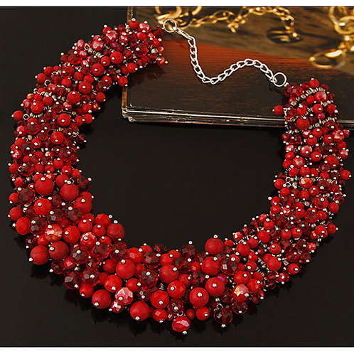 BOLD RED BEADED CRYSTAL NECKLACE - RUSSIA